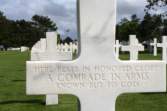 """Here rests in honored glory a comrade in arms known but to God."""