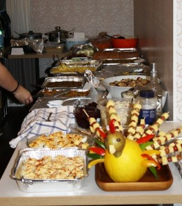 Only a portion of the buffet table(s)!
