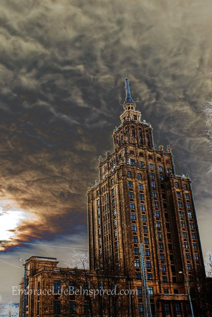 I told Stephen I envisioned boiling clouds and lightning striking the building, for some reason.  He said it looked like the building from Ghostbusters, and I think he's right!  So I did some editing to make this a little closer to my vision.  :)