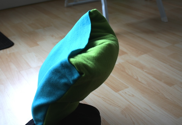 And flip the pocket inside out, so that the rest of the blanket goes inside.