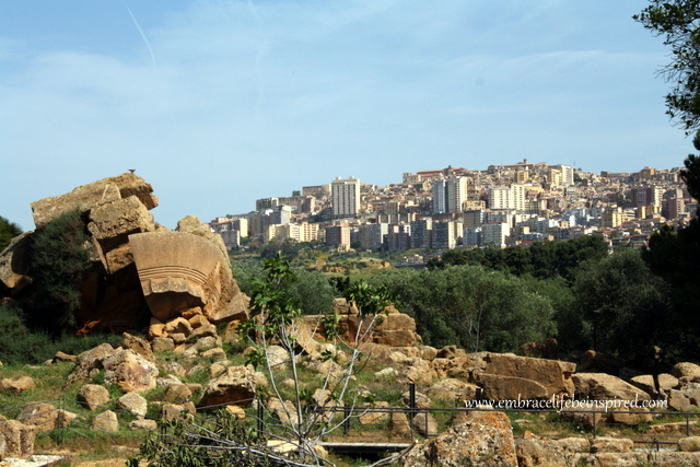 Valley of the Temples, looking uphill towards the town of Agrigento