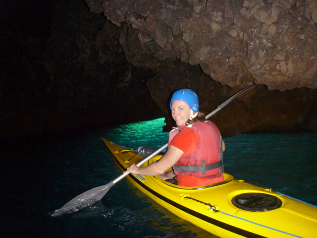 In a cave, island of Vulcano.  Photo by Eugenio at Sicily in Kayak