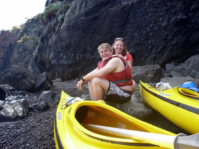 Our picnic beach on Vulcano.  Photo by Eugenio at Sicily in Kayak