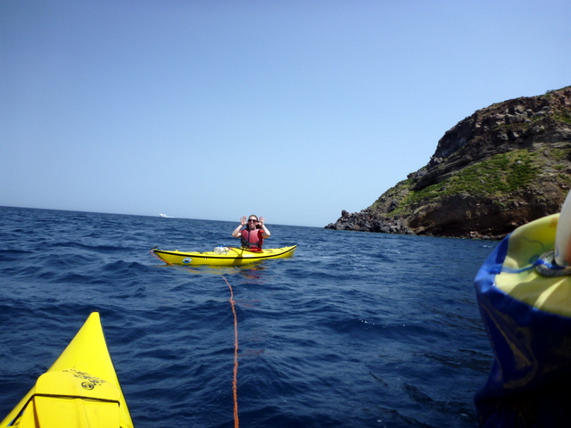 Getting towed.  Photo by Eugenio at Sicily in Kayak