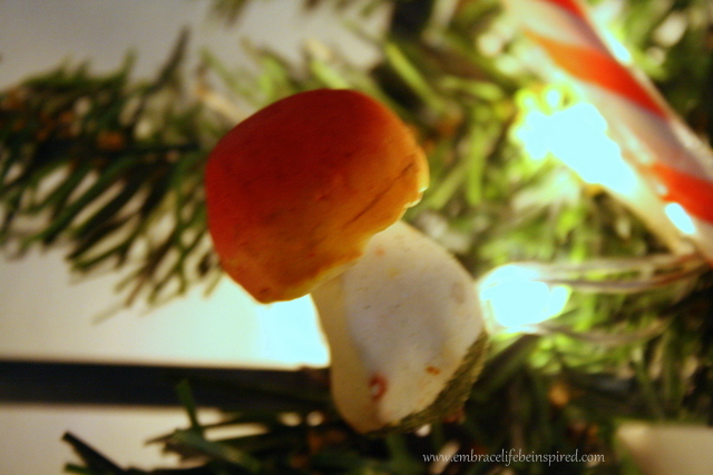 "I had a couple of these on the tree.  Stephen thought I was crazy - ""What do mushrooms have to do with Christmas?""  But they were so cute - and mine wasn't the only tree I saw mushroom ornaments on!  (Blurry photo, I know, sorry!)"