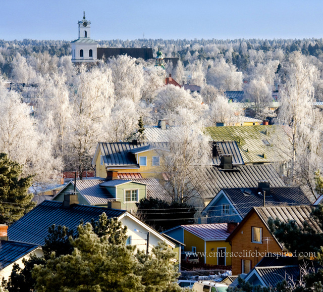 Rauma, Finland, covered in frost.