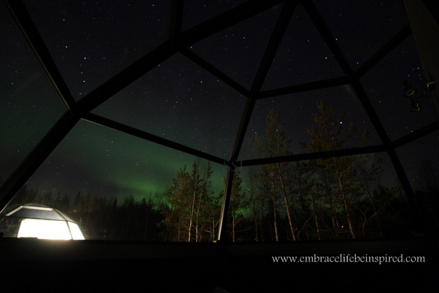 Northern Lights, seen from glass igloo